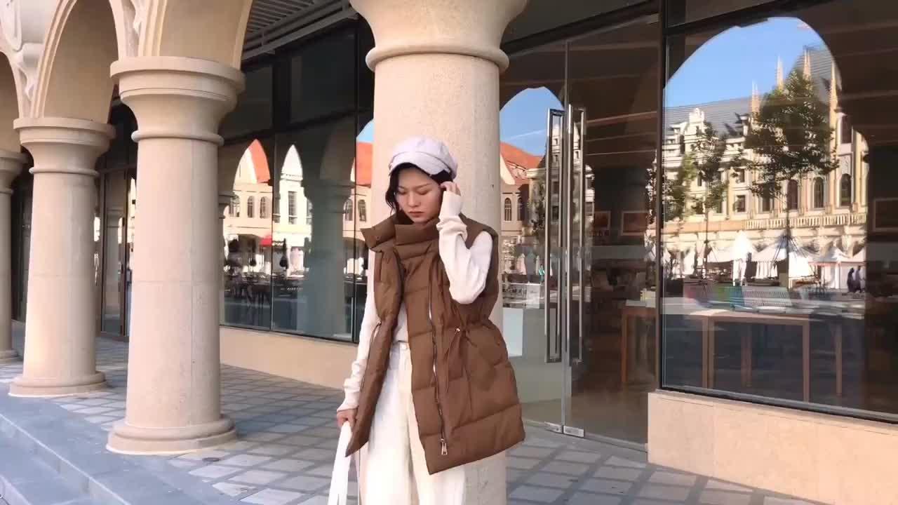 实拍2018冬季新款网红休闲宽松立领大码中长款羽绒服女马甲外套