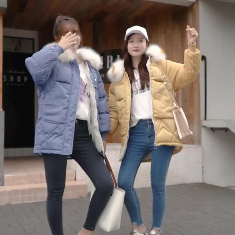 实拍2019韩国冬季棉衣亚博开户闺蜜同款超大毛领收腰连帽羽绒棉服外套
