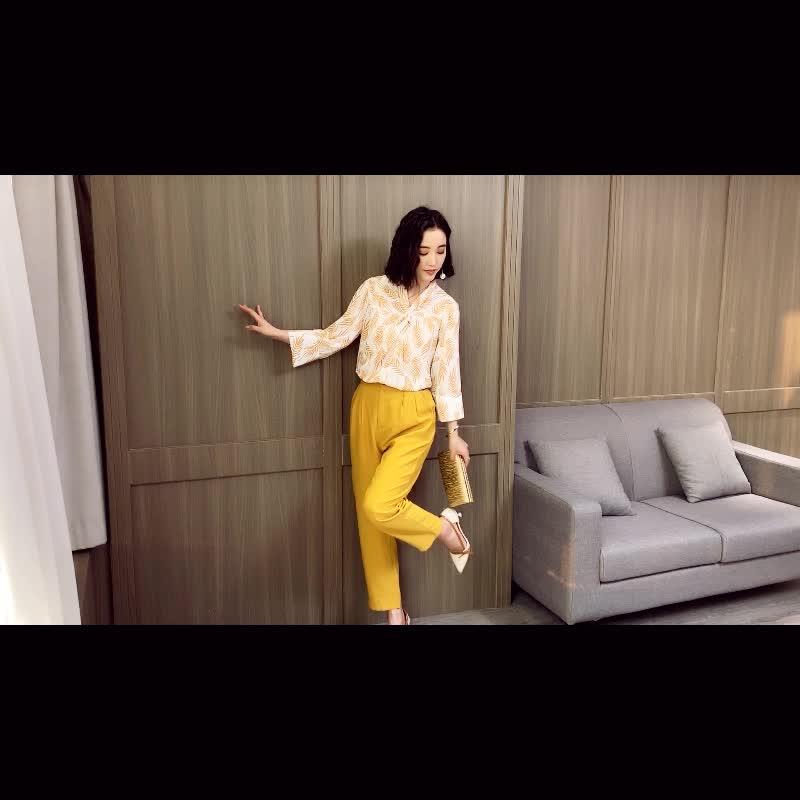 现货亚博娱乐平台入口有小视频2019新款韩版印花雪纺衫女