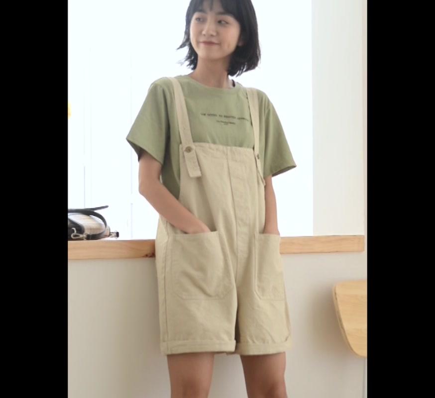 小個子吊帶連體褲女短褲寬松減齡背帶褲休閑闊腿韓版連衣褲