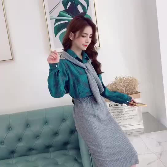 春裝2019新款時尚套裝女秋冬洋氣披肩襯衫針織半身裙子網紅三件套