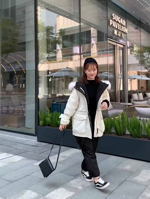 2019冬季羽絨棉服加厚外套女冬面包服棉襖韓版chic中長過膝bf棉衣