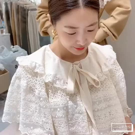 现货韩国东大门女装2019秋冬气质蕾丝翻领系带衬衫女内搭甜美小衫