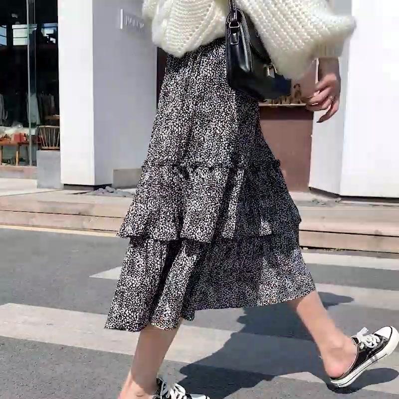 歐洲站2019秋冬款韓版時尚文藝蛋糕層半身裙顯瘦加絨雪紡半身裙女