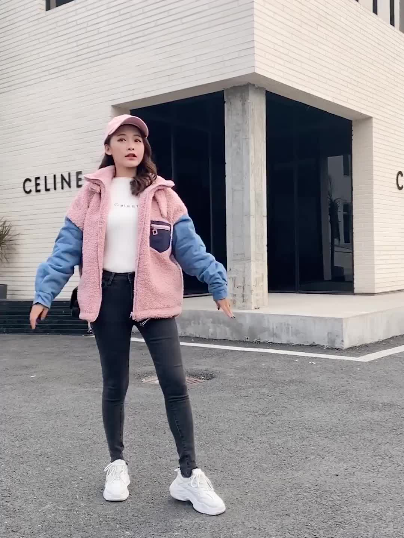 實拍2019冬季韓版新款羽絨服女立領牛仔拼接短款顆粒絨羊羔絨棉服