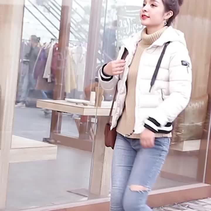 实拍2018新款短款棉衣女韩版修身学生冬装棉袄连帽百搭外套潮