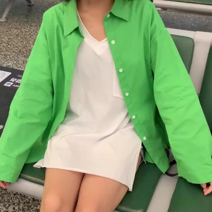 亚博娱乐平台入口 实价 控5 2019夏装新款韩版bf风宽松长袖衬衫休闲百搭女衬衣