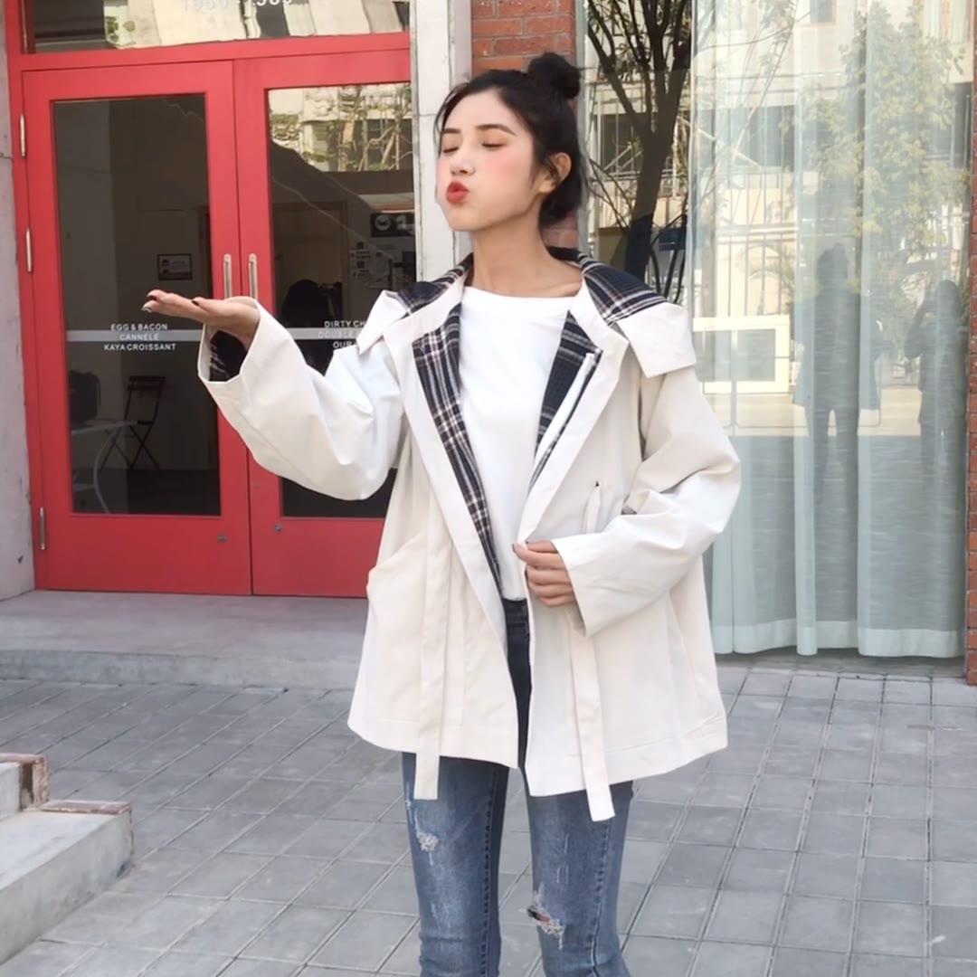 实拍2020春季新款韩版宽松大码bf学生连帽工装风衣外套女棒球服潮