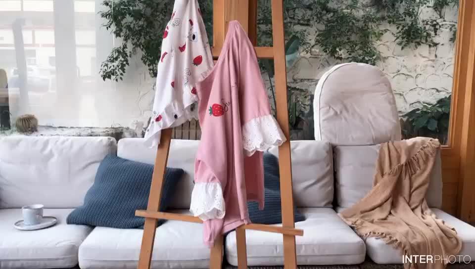 專柜正品牌夏季純棉女睡衣可愛甜美少女家居服薄款七分袖可外穿全