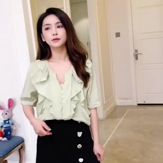 2019夏裝新款韓版超仙甜美荷葉邊氣質短袖洋氣小衫襯衫上衣女