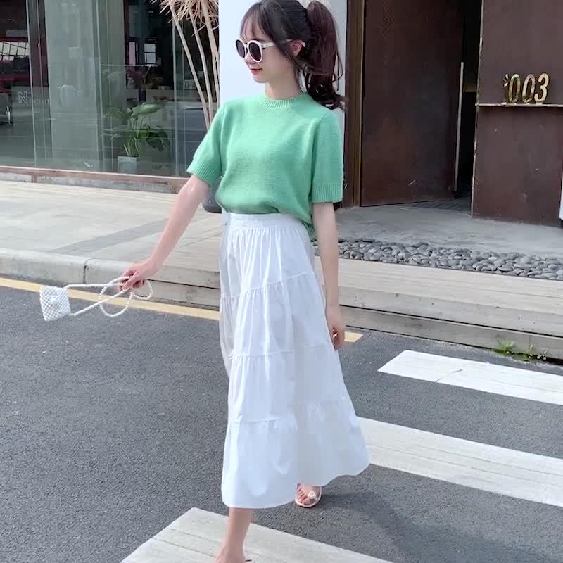 實拍白色不規則中長款高腰顯瘦半身裙女夏蓬蓬裙a字傘裙半裙潮
