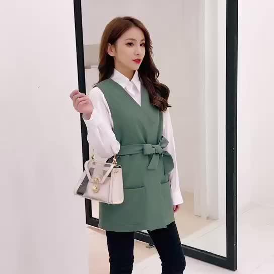 馬甲套裝女早秋2019新款時尚氣質寬松洋氣減齡內搭長袖襯衫兩件套