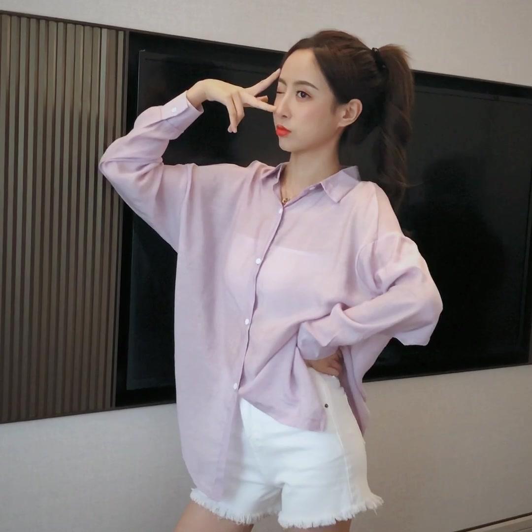 實拍 2020新款韓版露背設計感小眾襯衫紫色上衣女