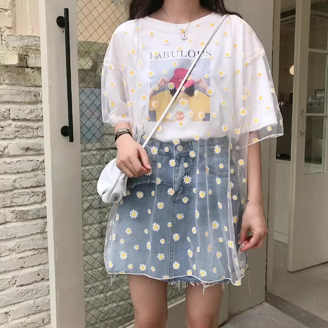 0051#實拍純棉2020夏裝白色網紗假兩件短袖t恤女寬松小雛菊潮上衣
