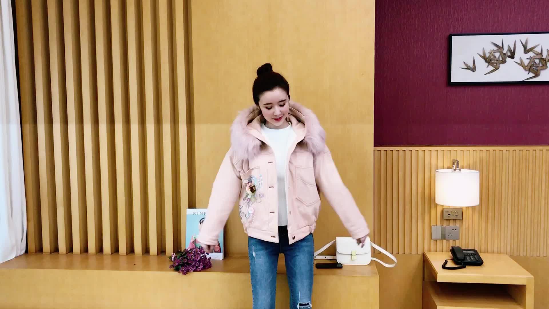 2019冬裝新款大毛領牛仔棉衣外套女彩色短款加絨加厚夾克棉服冬潮