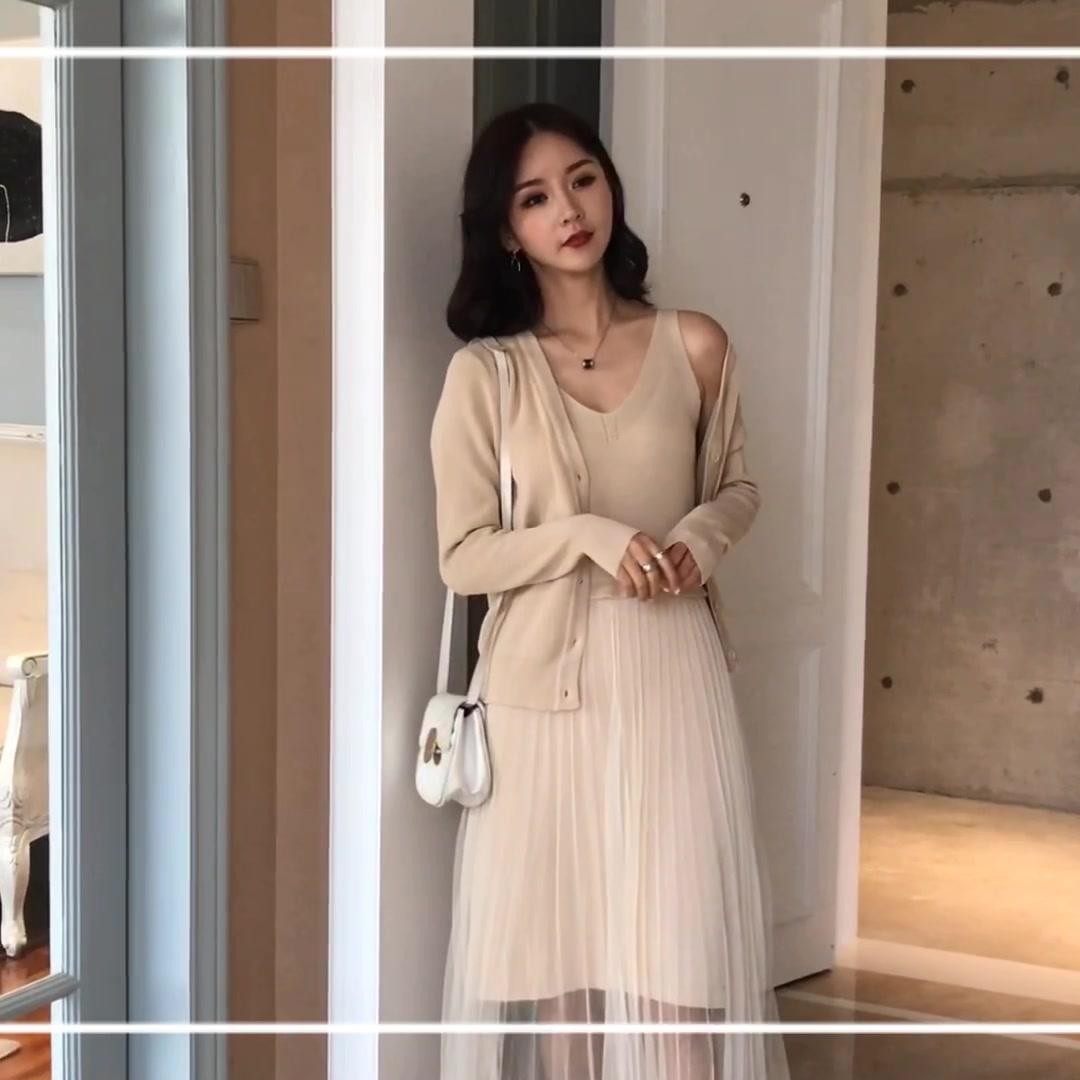 實拍 秋季新款連衣裙女韓版復古溫柔風顯瘦顯高高腰中長裙女