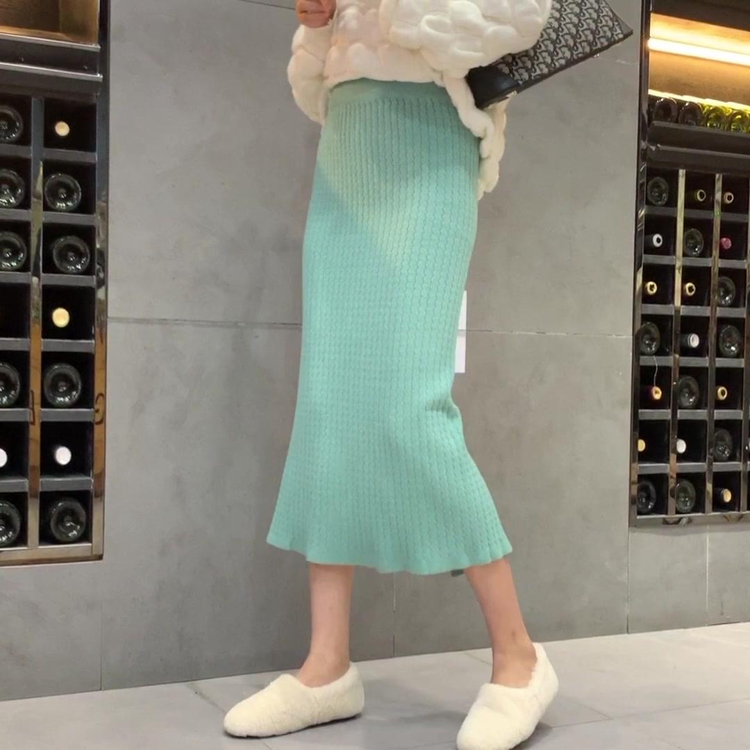 針織半身裙子中長款女秋冬2019新款高腰包臀顯瘦春秋垂感A字長裙