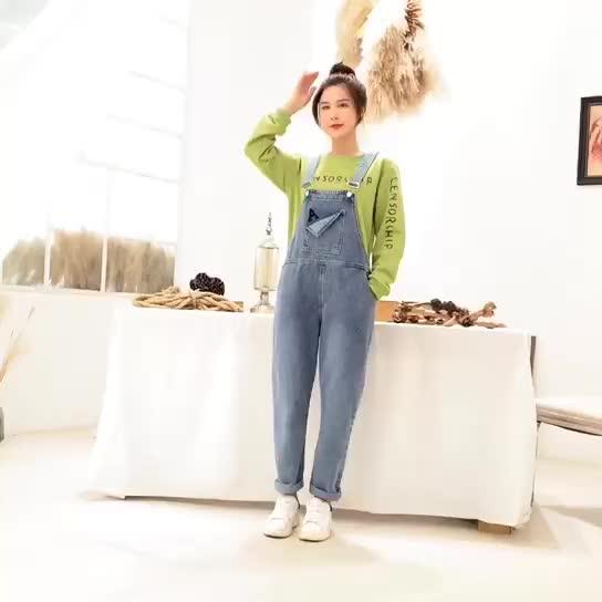 亚博娱乐平台入口2019新款ins时尚网红减龄A字刺绣牛仔背带裤加字母印花卫衣