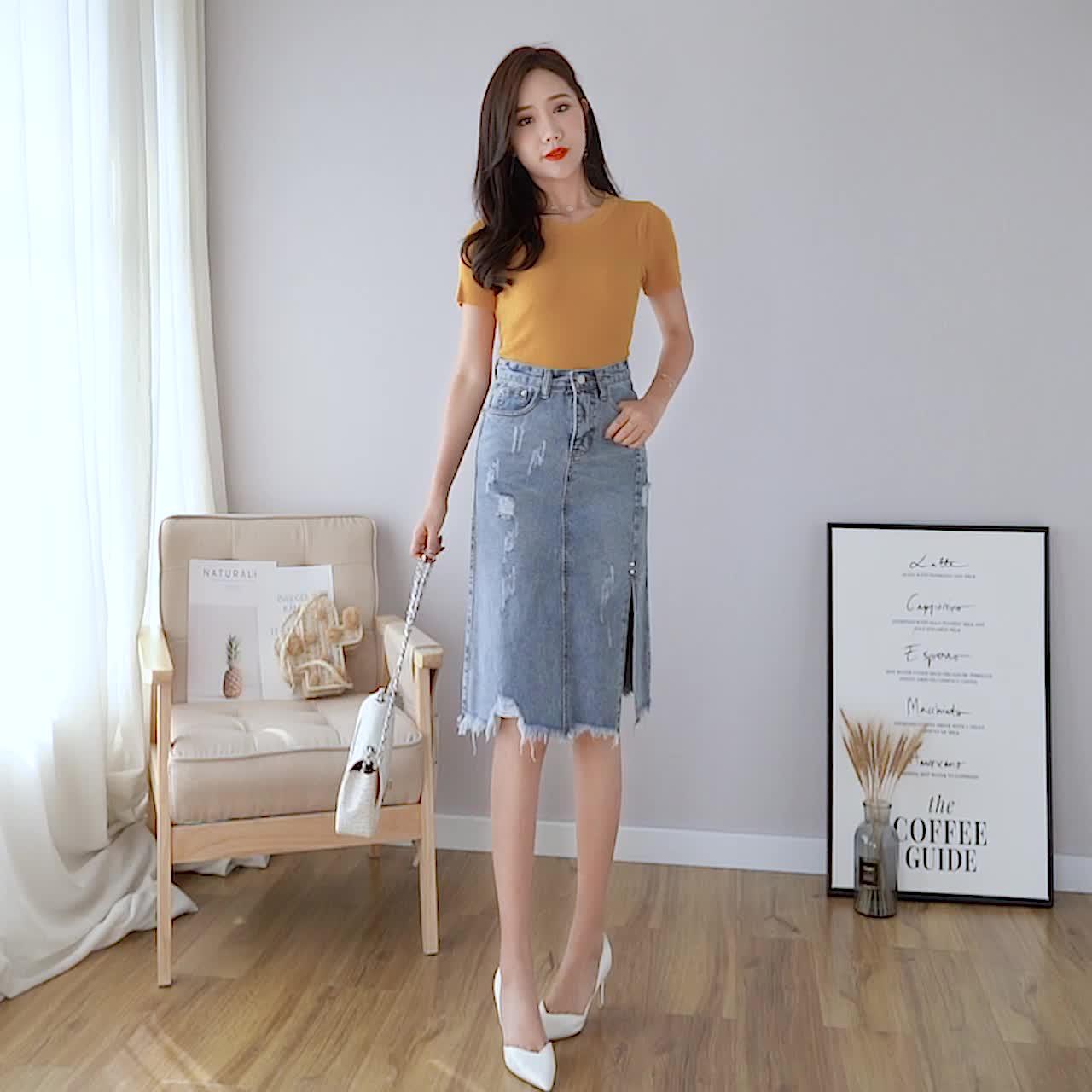2019新款破洞半身裙牛仔高腰春款包臀裙 牛仔裙开叉中长款女夏季