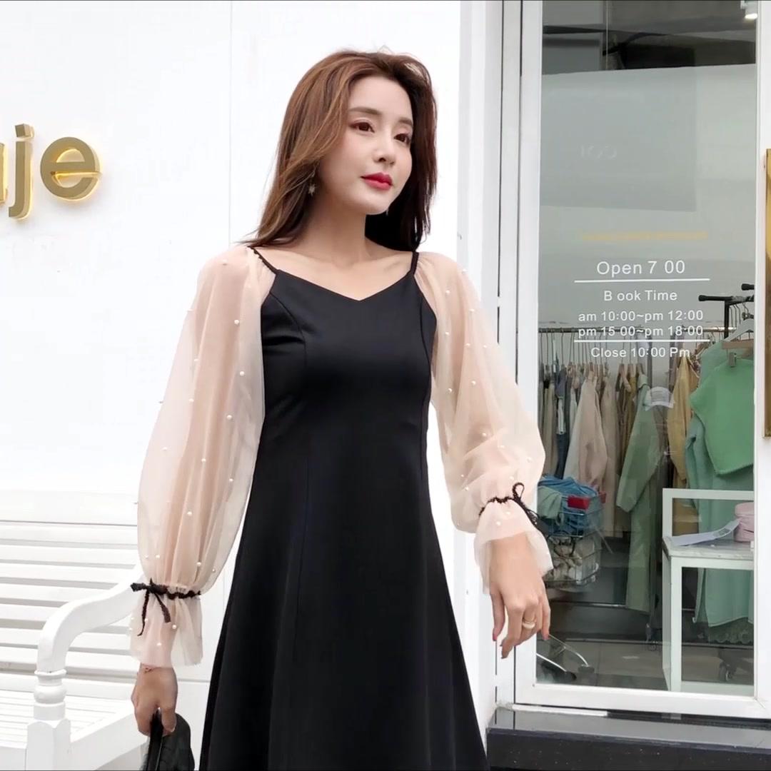 實拍現貨 2019新款黑色連衣裙釘珠顯瘦a字裙