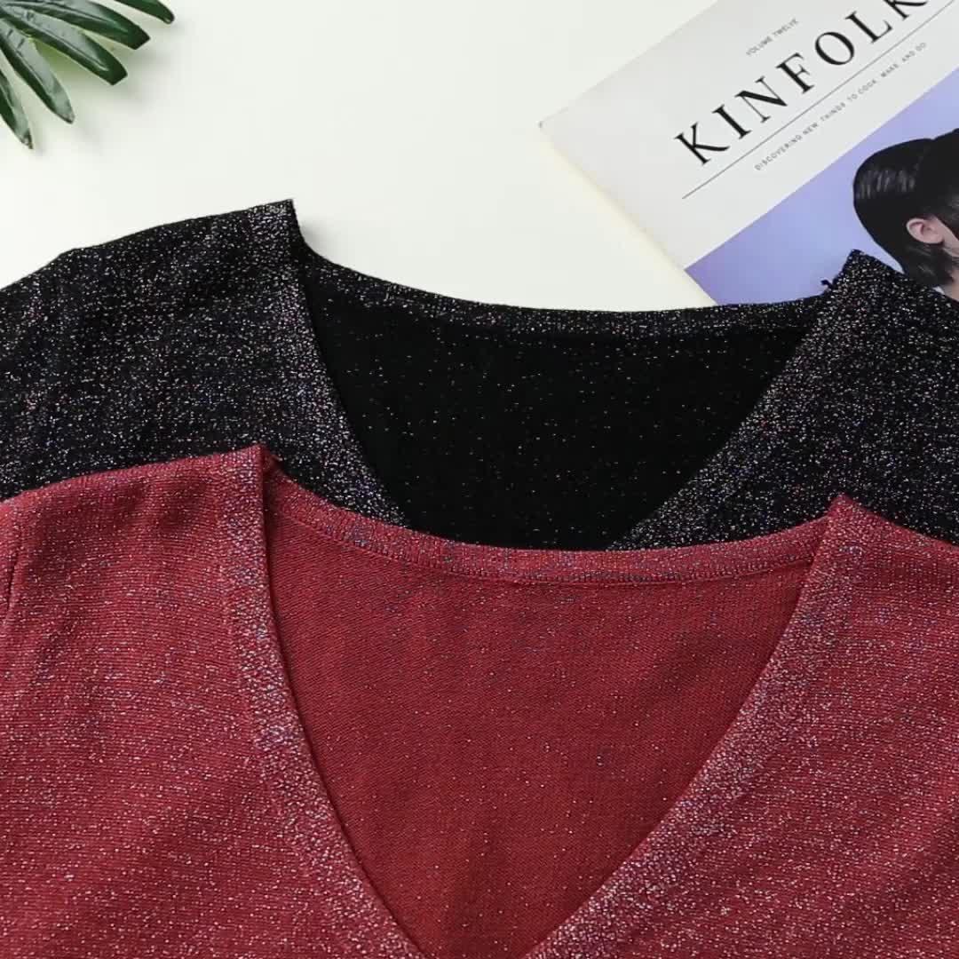 2020夏裝實拍亮絲上衣v領t恤寬松閃光絲短袖冰絲針織衫女薄款