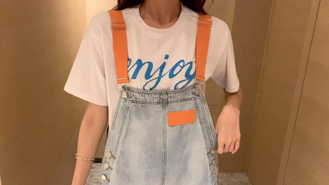 實拍2020夏季新款女寬松舒適牛仔背帶褲俏皮可愛學生牛仔吊帶短褲