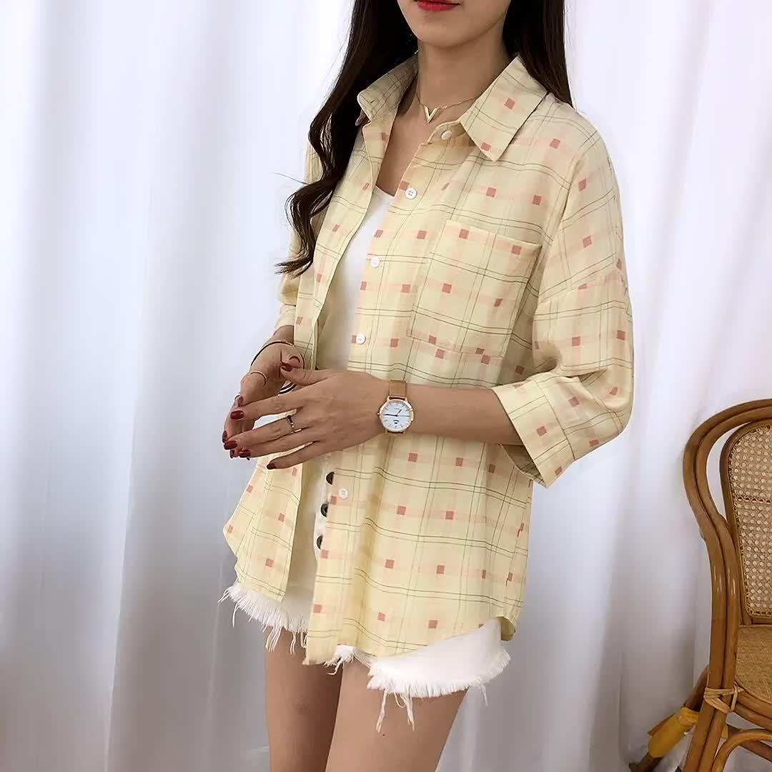 实拍2020新款夏装格子衬衫学院风衬衣薄外套女上衣