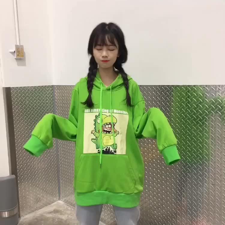 实拍ins韩国鬼马系少女趣味卡通韩版印花连帽卫衣宽松百搭上衣女