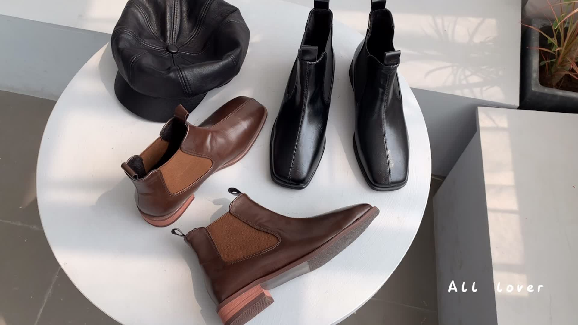 秋冬新品 韓國復古百搭短靴 加絨里的