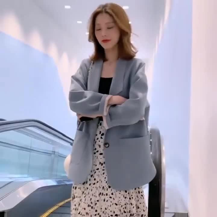 網紅chic小西裝外套女裝春秋季2019新款韓版寬松短款復古休閑西服