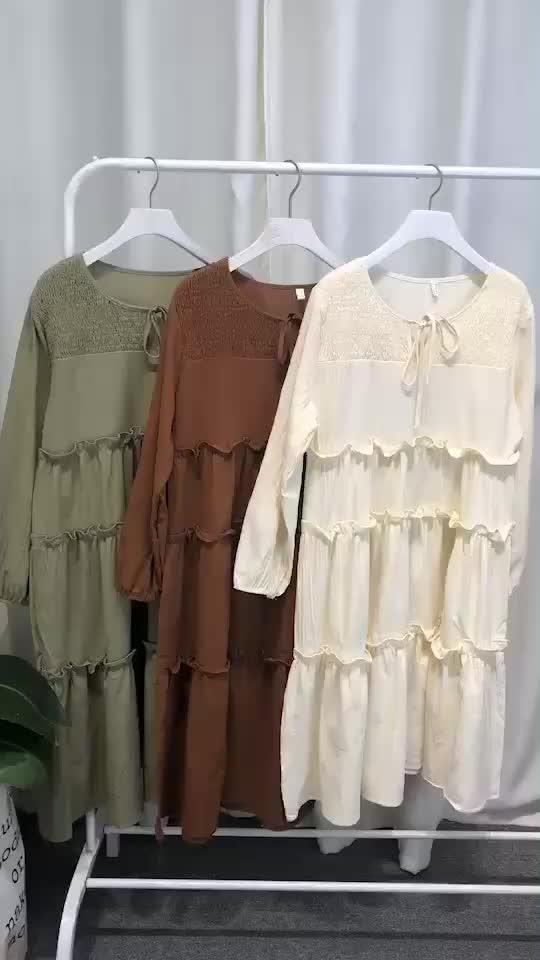 烏77氣質感拼接木耳邊純色裙韓版寬松顯瘦綁帶蝴蝶結中長款連衣裙