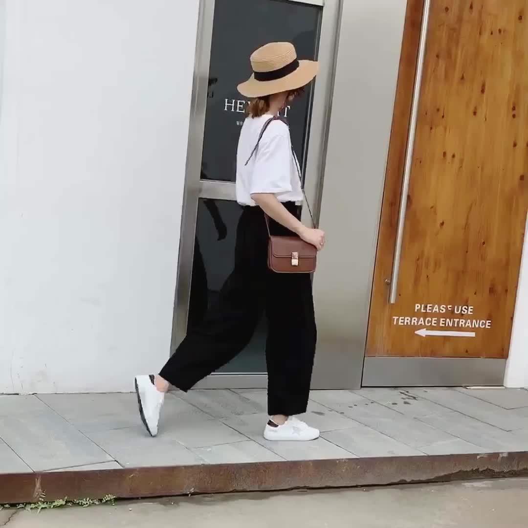 實拍2020春裝新款闊腿褲女垂感高腰直筒韓版寬松學生休閑拖地褲女