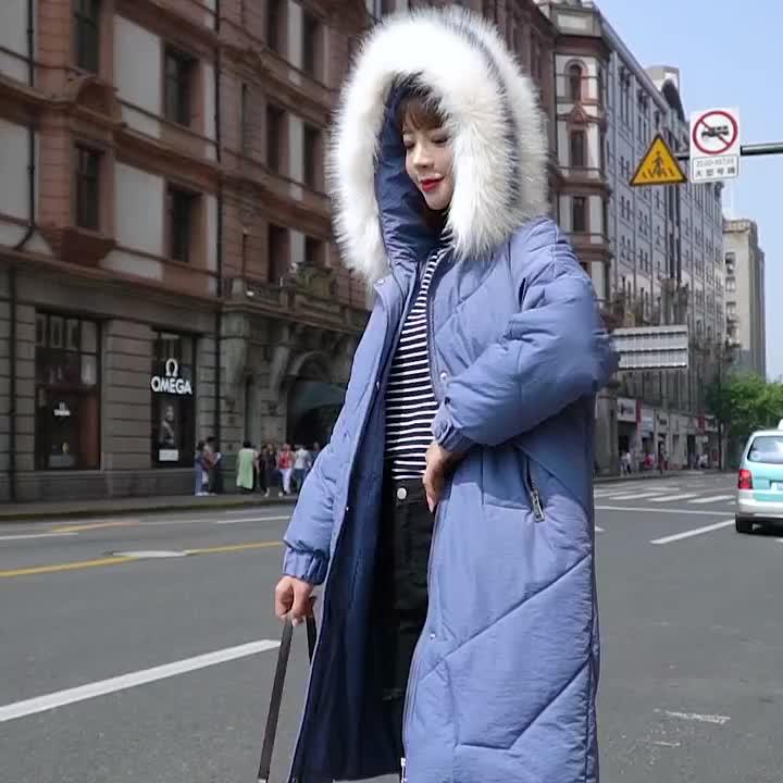 实拍19新款羽绒服女韩版中长款宽松bf棉衣大码胖mm外套网红速卖通