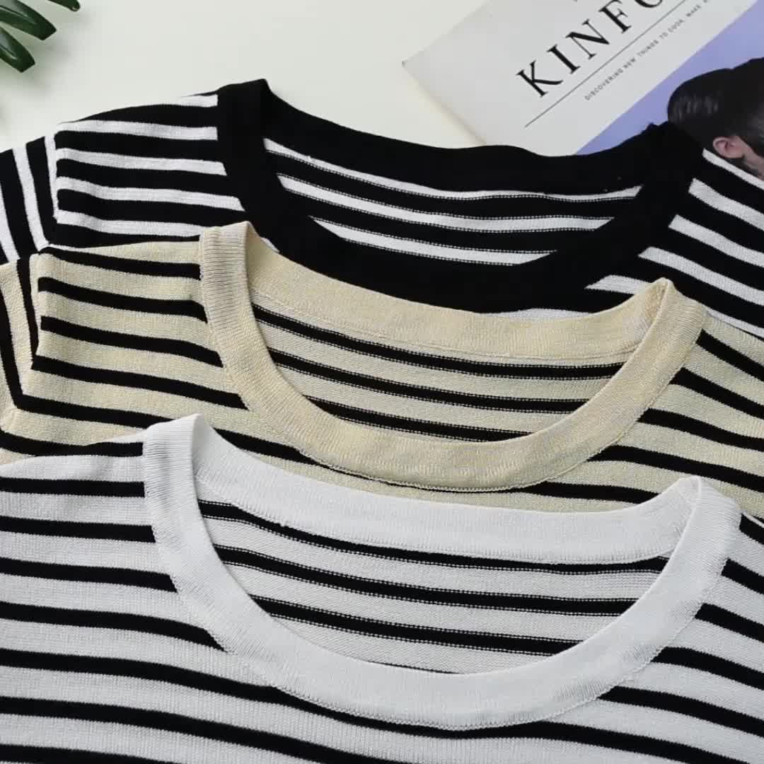 2020夏裝實拍條紋短袖t恤女寬松百搭潮新款半袖針織打底上衣