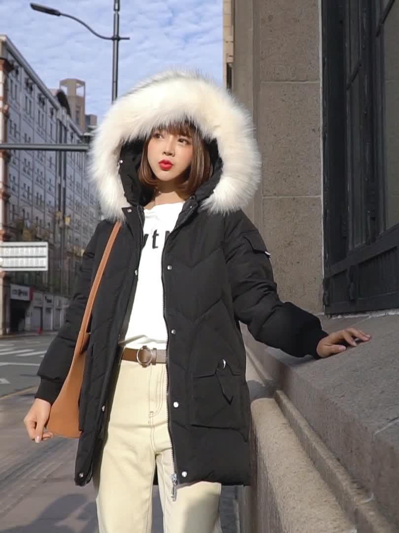 实拍韩国东大门秋季新款羽绒服女宽松过膝棉衣外套ins网红 速卖通