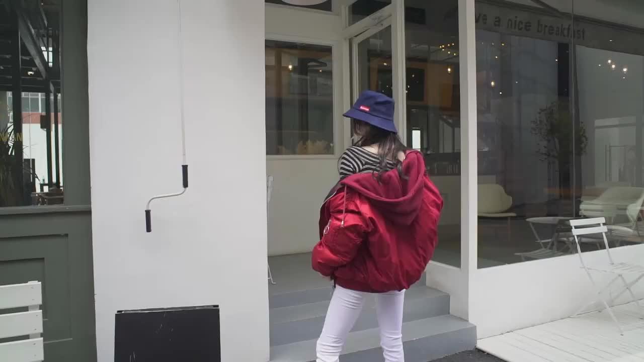 实拍雪梨同款羽绒服女 冬季双面穿原宿短款宽松棒球服棉服潮