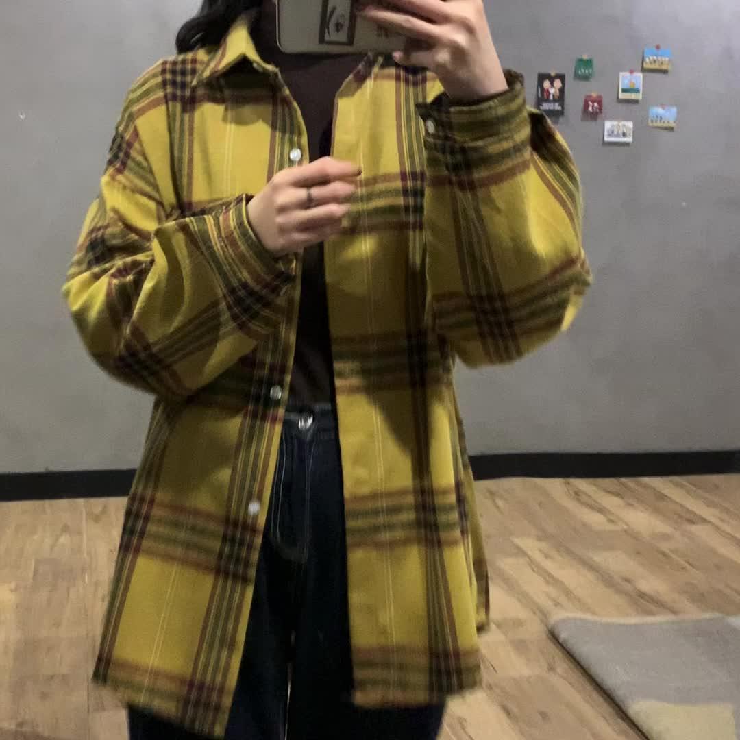 实拍实价~2020春款衬衣韩版复古宽松学院风长袖超火格子衬衫女