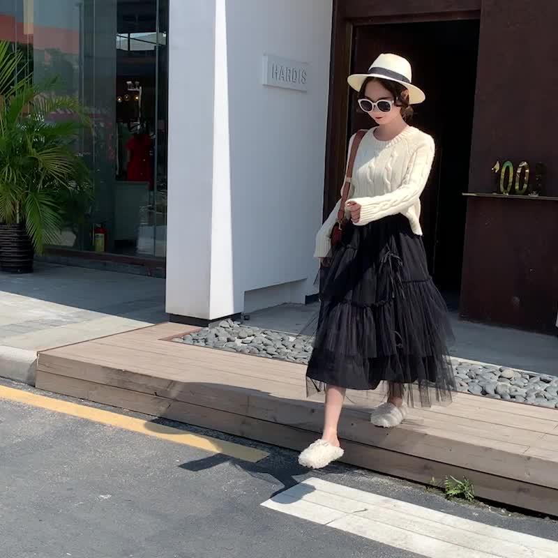 實拍2020春夏款新款不規則網紗系帶中長款仙女裙A字裙半身裙薄款