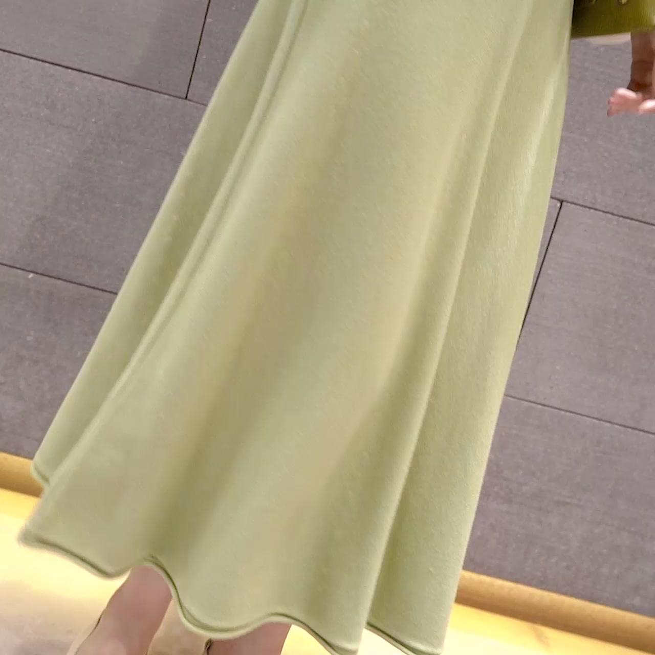 秋冬新款大擺傘裙過膝針織半身裙女韓版氣質高腰顯瘦中長款A字裙