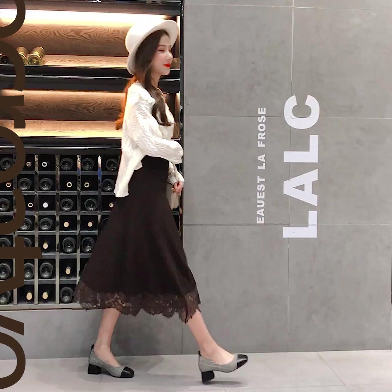 2018秋冬新款加厚针织半身裙女中长款高腰修身蕾丝裙显瘦A型长裙