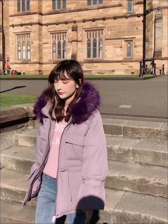 實拍2019韓版新款羽絨服 女短款小個子抽繩收腰短款學生棉服外套