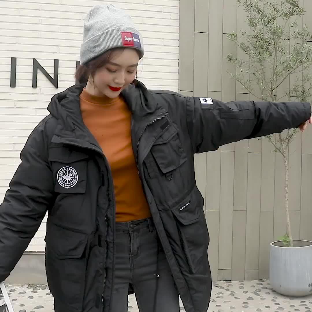 實拍 2019新款羽絨棉服韓國工裝明星同款防寒服女中長款棉衣外套