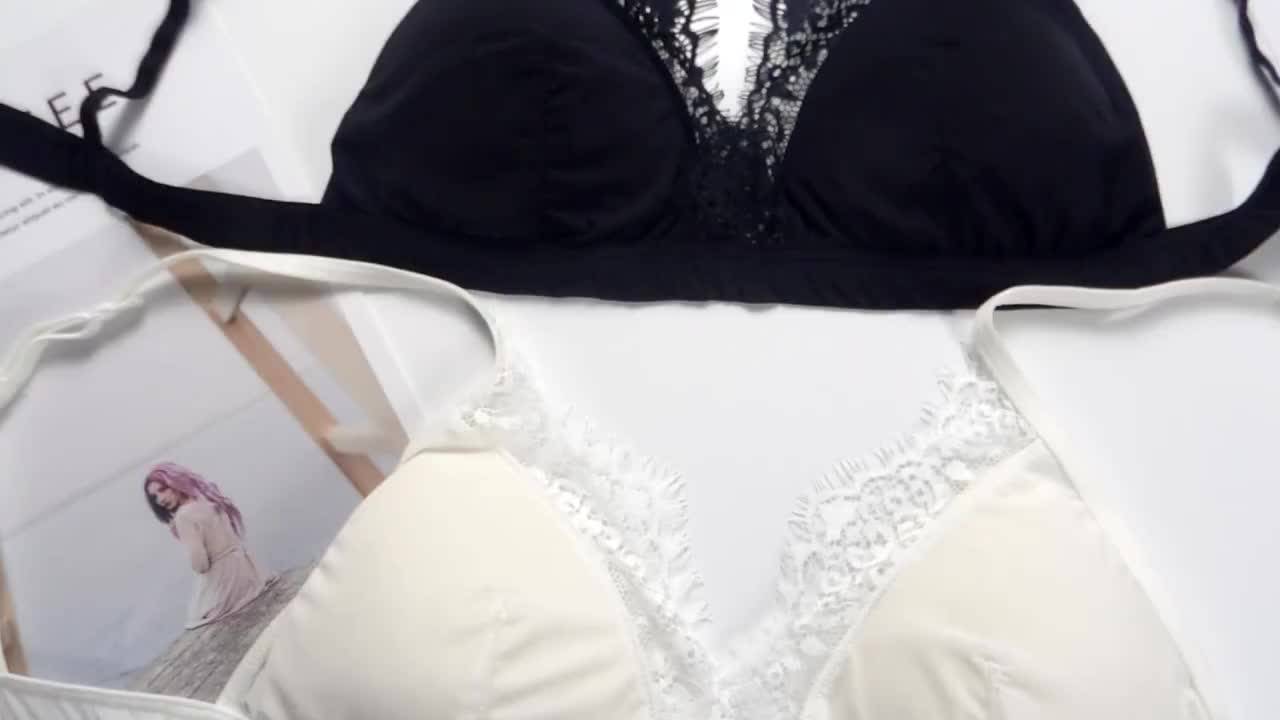 实拍~春夏欧洲性感薄款无痕透气内衣文胸蕾丝花边三角舒适裹胸