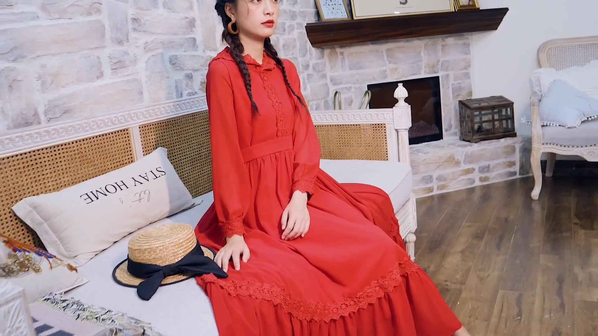 云南麗江旅游裙子復古民族風洱海度假長裙紅色雪紡連帽拍照連衣裙