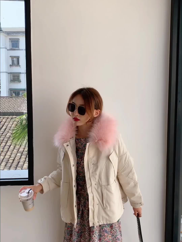 實拍新款羽絨服女短款韓版工裝大毛領派克服加絨學生短款棉衣外套