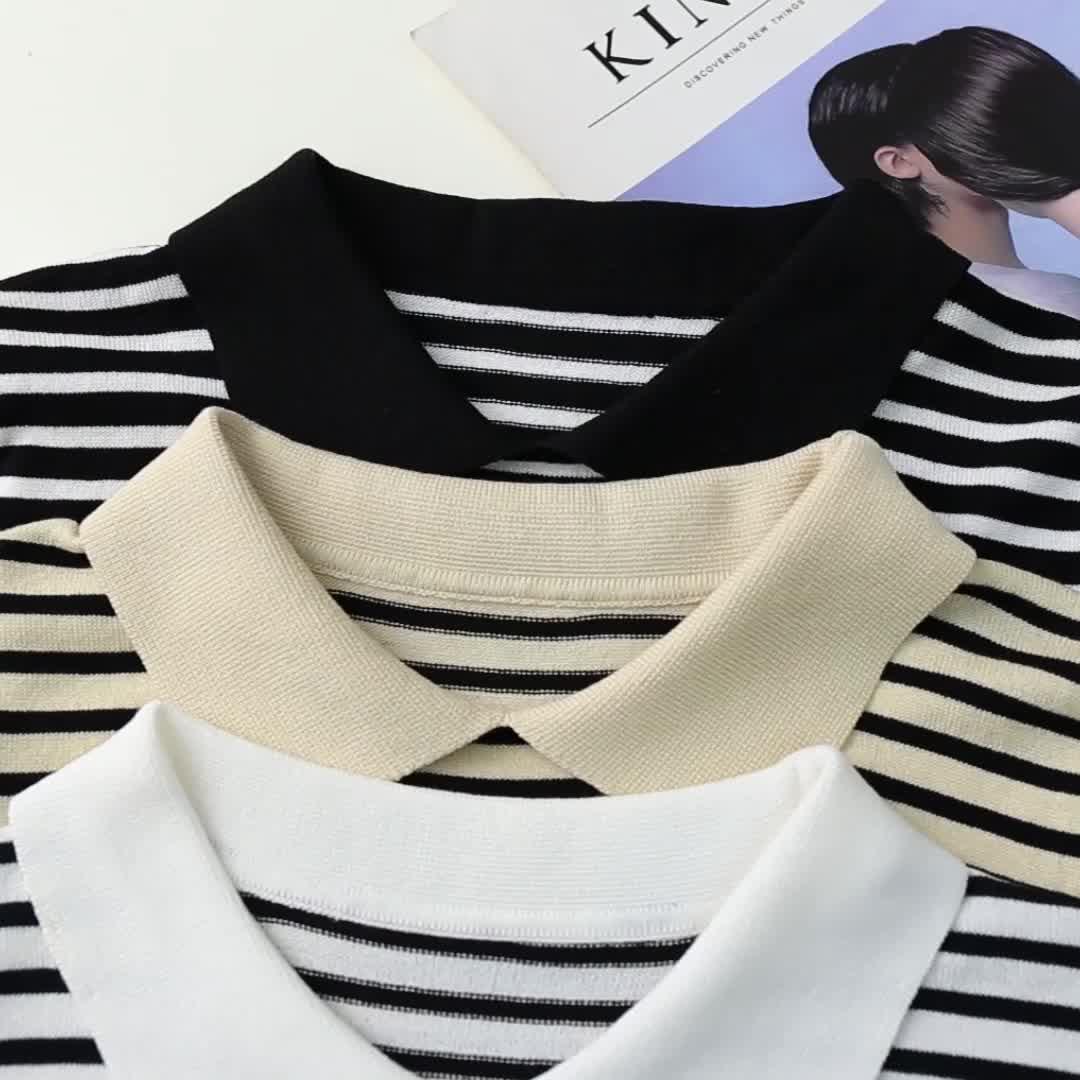 2020夏裝實拍冰絲短袖針織衫薄款女裝ins潮條紋T恤女士上衣