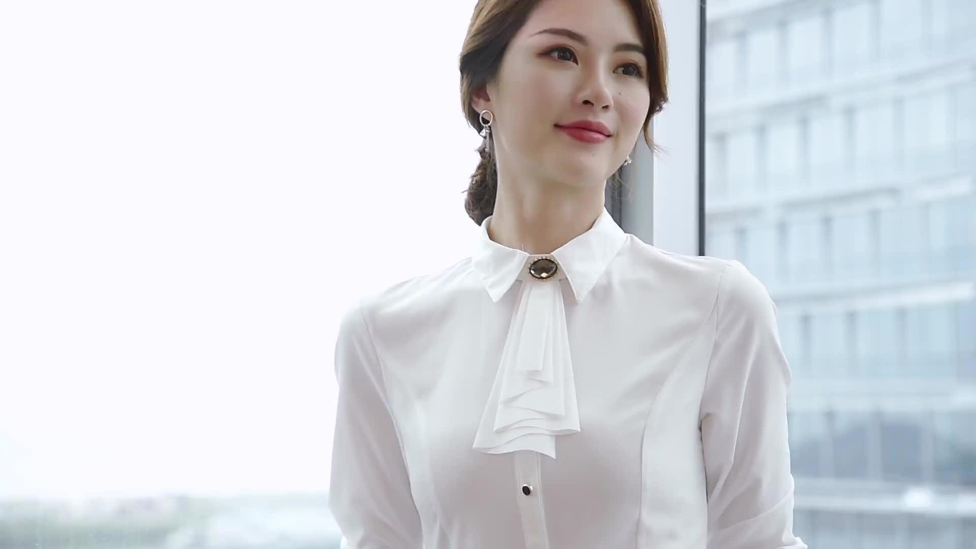 实拍2019秋职业女装正装衬衣OL通勤商务时尚优雅气质衬衫