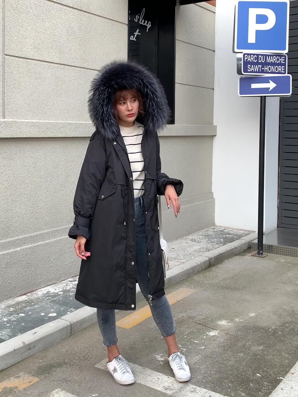 實拍2019新款羽絨棉服女韓版中長款寬松收腰派克服風衣棉衣外套潮