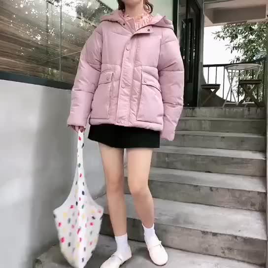 實拍2019冬季棉衣網紅學生短款羽絨服chic女學院風加厚寬松棉服bt