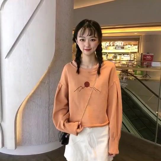 實拍實價控5 韓版新款刺繡長袖衛衣寬松休閑百搭上衣